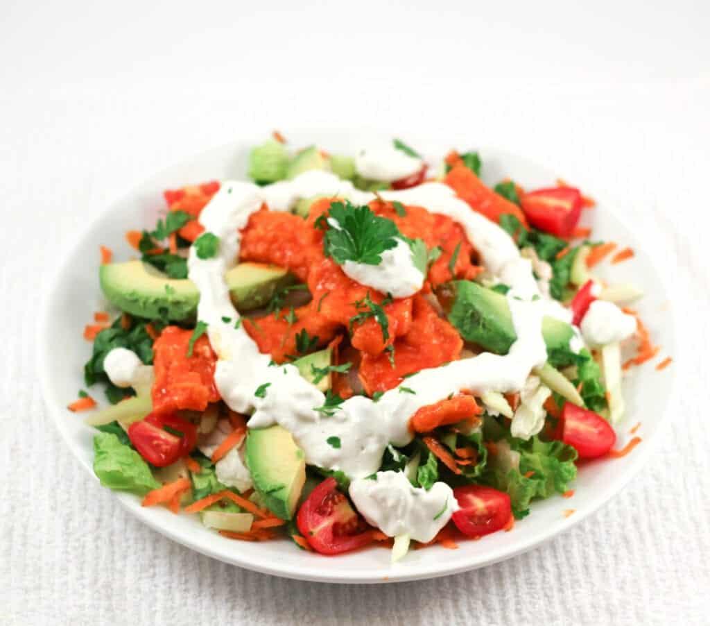 Gluten Free Buffalo Crispy Chicken Salad
