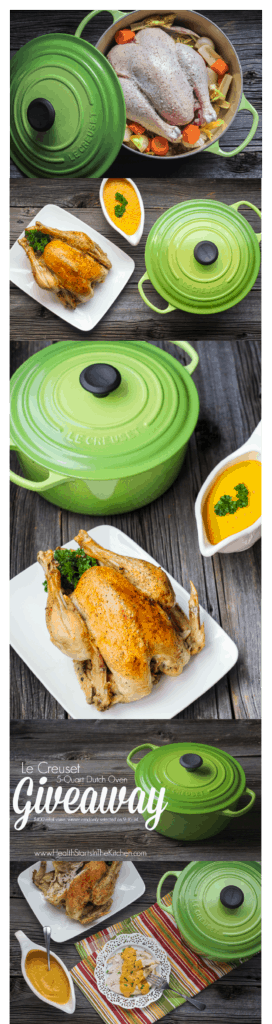 Perfect Roast Chicken with Vegetable Gravy and a Le Creuset Dutch Oven Giveaway!!