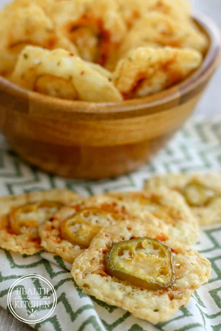 Low-Carb {2 Ingredient} Crispy Jalapeño Cheese Crackers