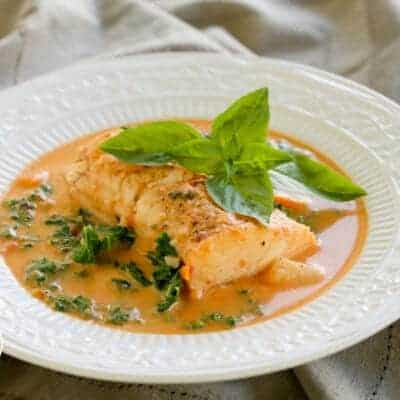 {Pressure Cooker} Haddock in Creamy Tomato Broth with Potatoes, Carrots and Kale