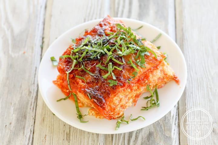 {Low Carb} Pesto Pepperoni Pizza Lasagna