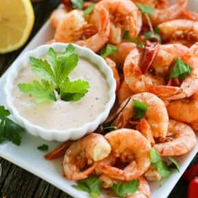 Spicy Peel and Eat Shrimp with Chipotle Remoulade {Paleo & Low-Carb}