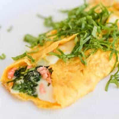 Smoked Salmon & Ramp Stuffed Omelet