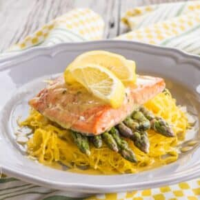 Oven Baked Salmon Asparagus & Spaghetti Squash with Lemon Beurre Blanc