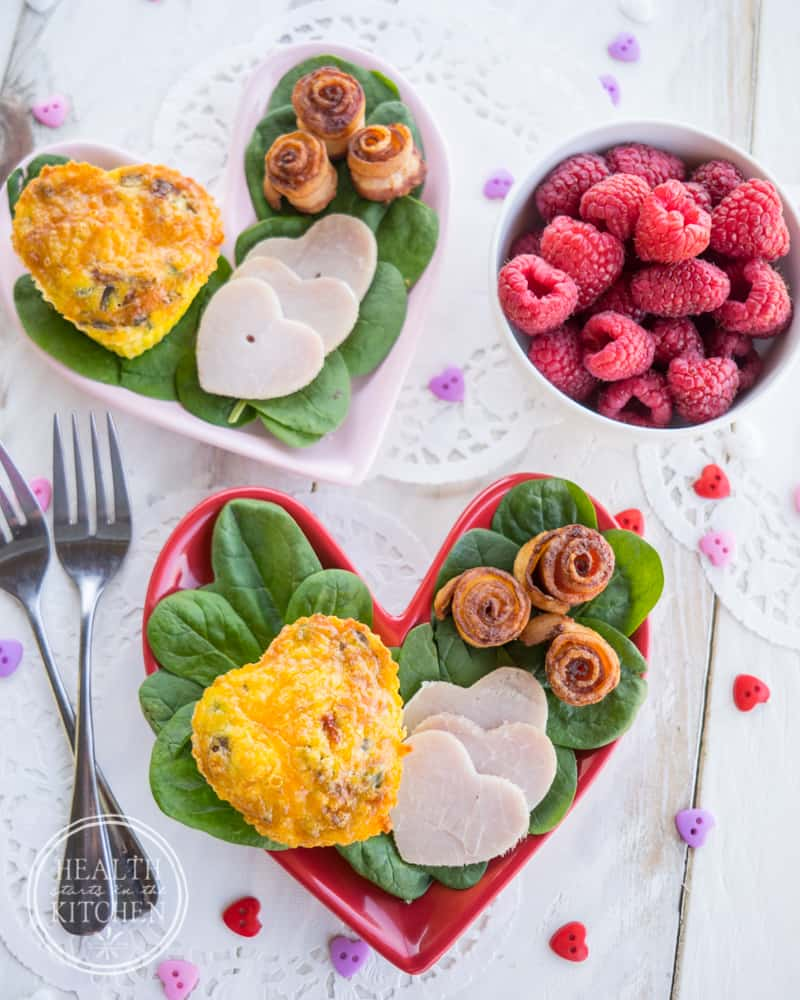 Valentine's Day Breakfast with Heart Omelets & Bacon Roses - {Low-Carb, Keto & Primal/Paleo}