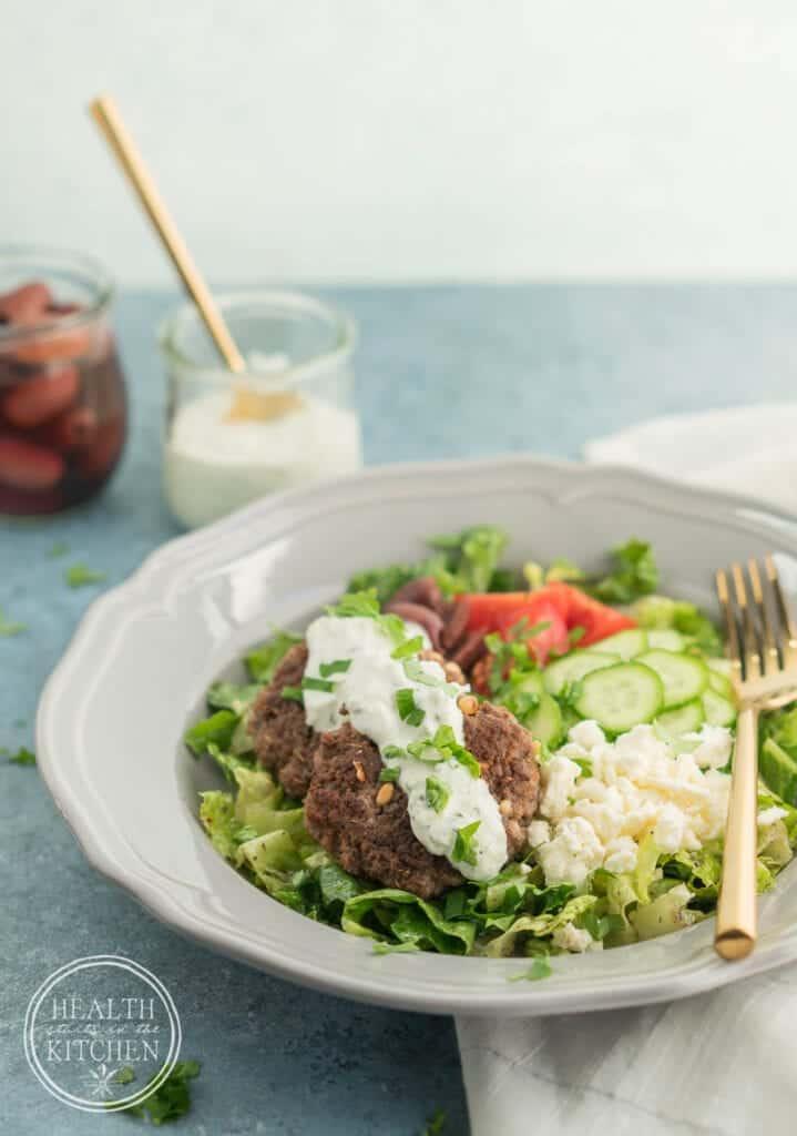 Greek Lamb Burger Bowls {Low-Carb & Primal}