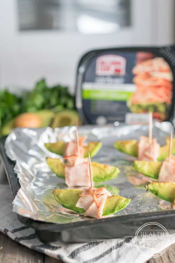 Low-Carb Turkey Wrapped Avocado Wedges w/Sriracha Mayo Dip
