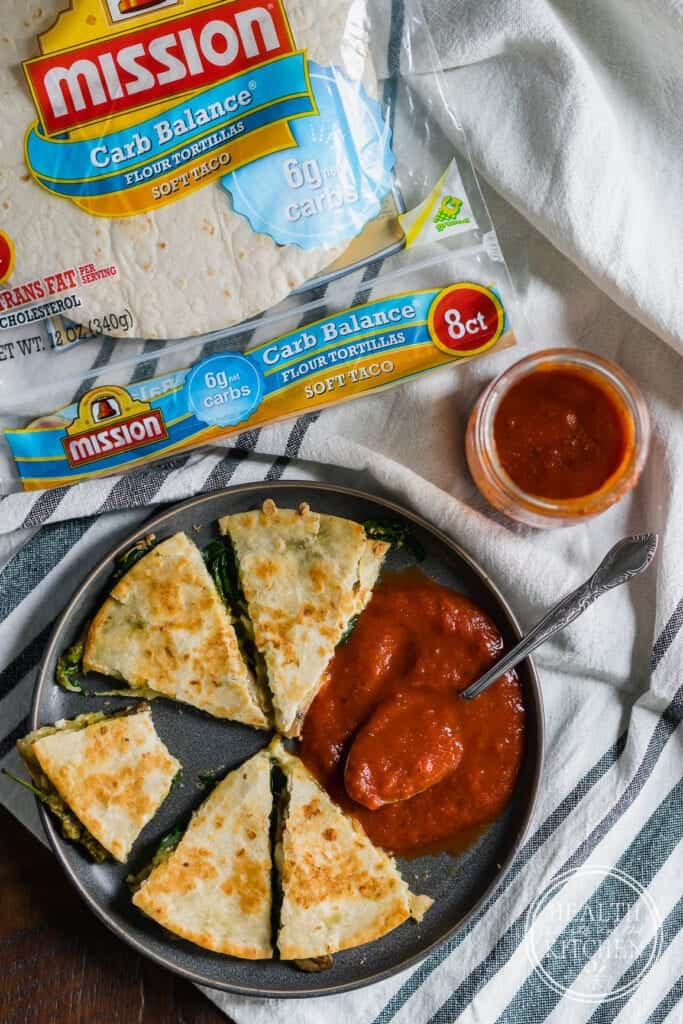 Low Carb Spinach and Feta Quesadilla