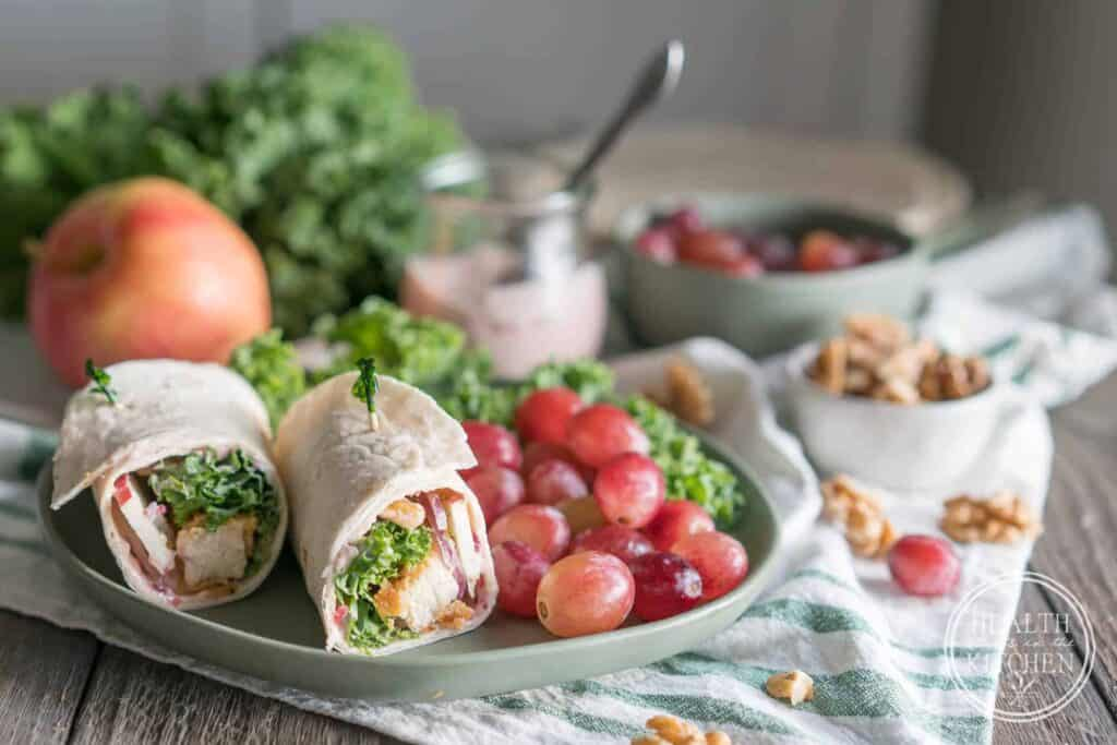 Waldorf Chicken Kale Wraps