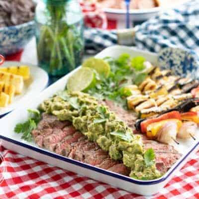 Grilled Guacamole Flank Steak with Halloumi Kebobs