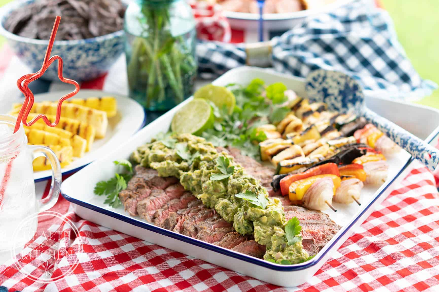 Flank Steak with Grilled Guacamole and Hallumi Vegetable Kebobs