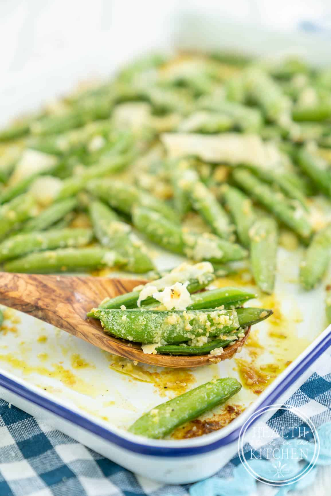 Parmesan Garlic Roasted Sugar Snap Peas - Low Carb