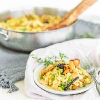 Vegetarian Summer Wild Mushroom Paella with Chanterelles and Black Trumpet Mushrooms