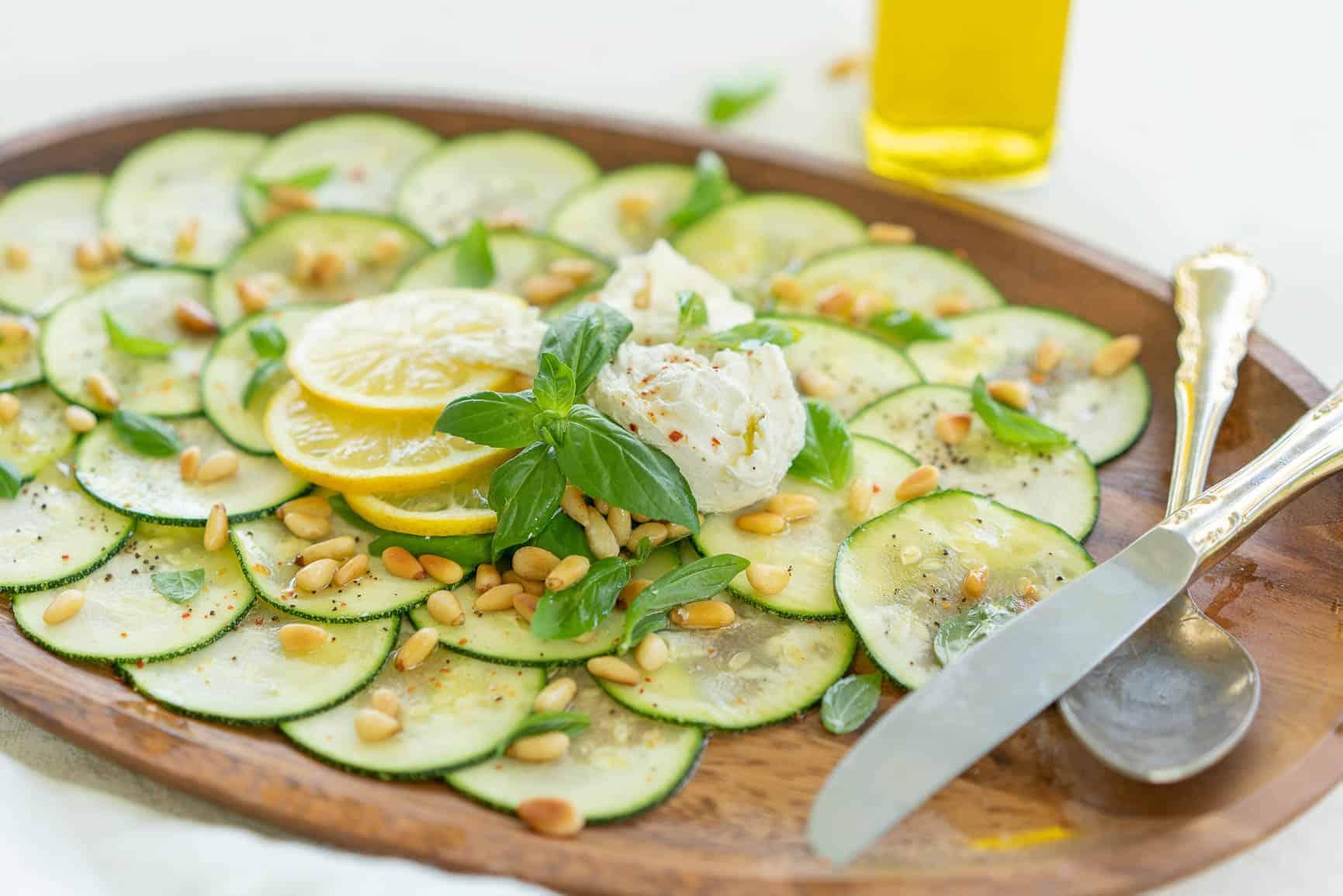 Keto Zucchini Carpaccio with Buratta