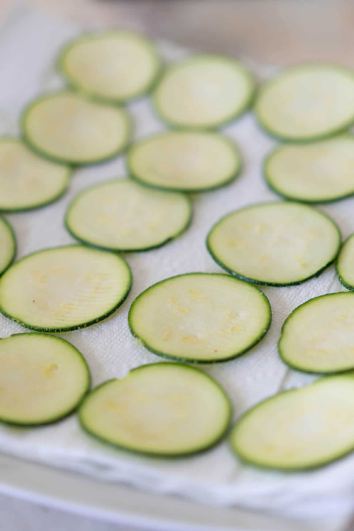Thinly sliced zucchini