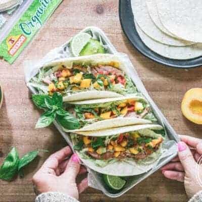 Harvest Month Grilled Pork Tenderloin Soft Tacos with Peach Jalapeño Salsa