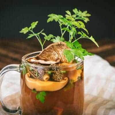 Pressure Cooker Wild Mushroom Broth made with Dried Mushrooms