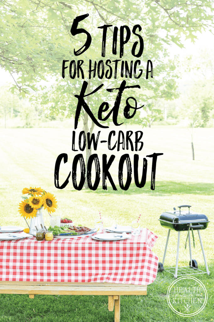 5 Tips for a Keto Low-Carb Friendly Summer Cookout words on a picnic background