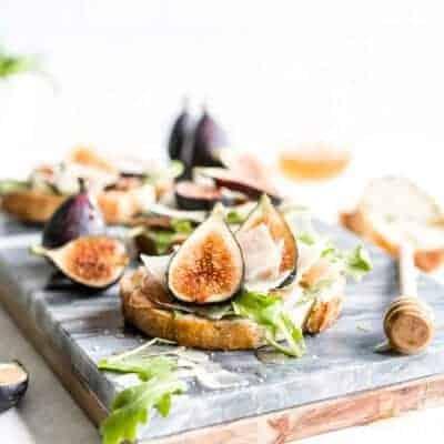 Fig Bruschetta Recipe with Prosciutto, Arugula and Copper Kettle Cheese